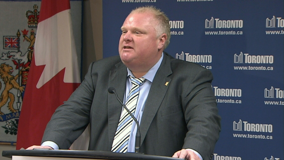 Toronto Mayor Rob Ford address media, Thursday, June 20, 2013.