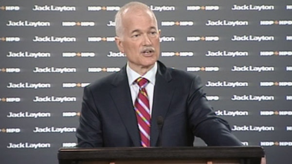 NDP Leader Jack Layton responds to questions regarding the auditor general's report in Ottawa, Ont., Monday, April 11, 2011.