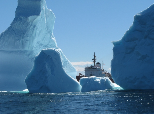 An iceberg cluster surrounds the Canadian Coast Guard Ship Ann Harvey on Saturday, June 8, 2013 about 60 nautical miles east of Makkovik, Labrador. The coast guard says the largest iceberg cluster it has seen in recent years is drifting south off Labrador near the Strait of Belle Isle. THE CANADIAN PRESS/HO-Canadian Coast Guard