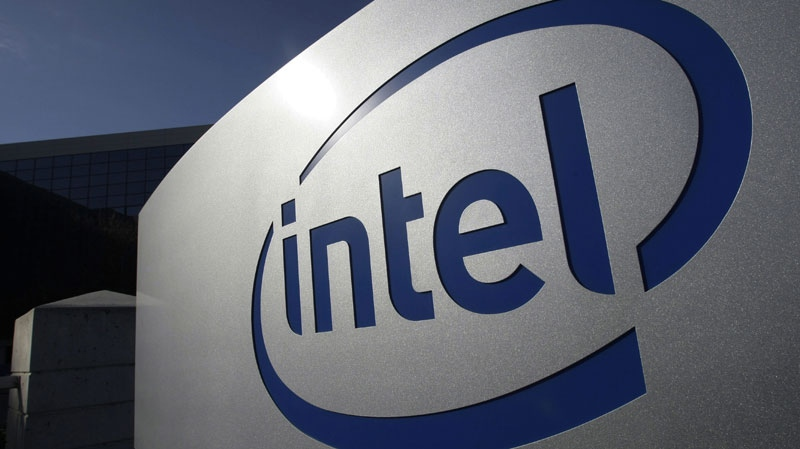 The Intel logo is displayed on the exterior of Intel headquarters in Santa Clara, Calif., on Jan. 12, 2011. (AP / Paul Sakuma)