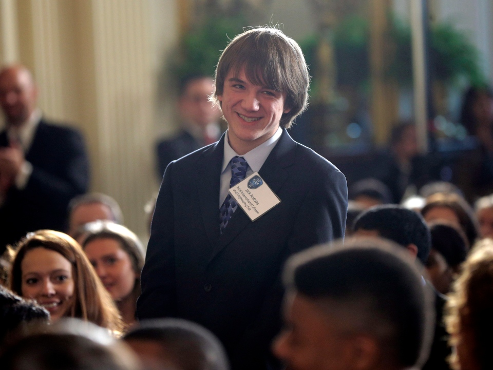 Jack Andraka stands up after being acknowledge by U.S. President Barack Obama during the White House Science Fair, Monday, April 22, 2013, at the White House.  (AP Photo/Pablo Martinez Monsivais)