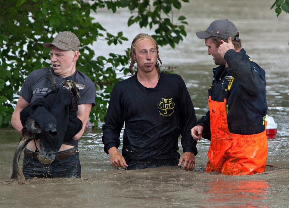 Kevan Yeats and his cat Momo are led to safety escaping his pickup truck swept downstream in High River, Alta. on June 20, 2013 after the Highwood River overflowed its banks. (Jordan Verlage / THE CANADIAN PRESS)