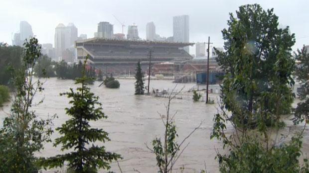 Stampede Park is under water.