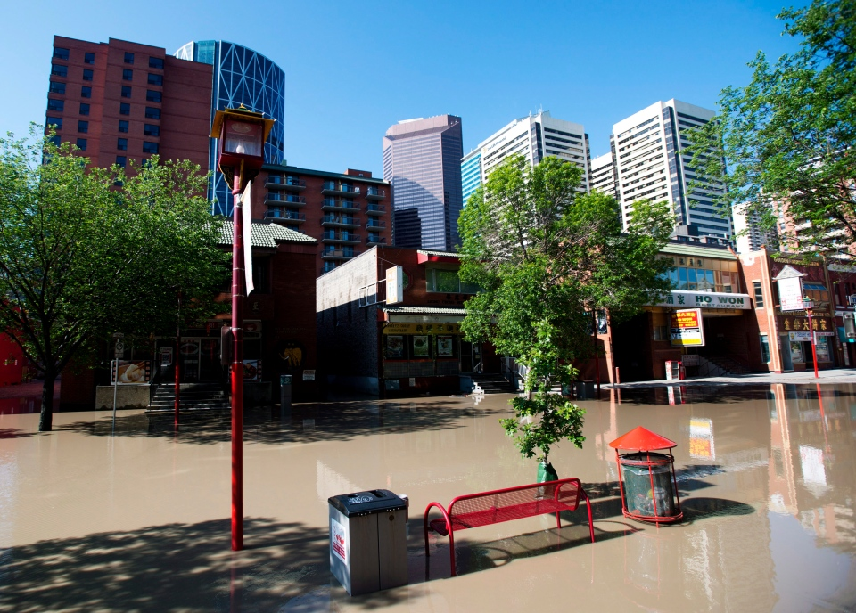 A flooded Chinatown in downtown Calgary is a ghost town as up to 75,000 people have been evacuated from their homes in Calgary, on Saturday, June 22, 2013. (Nathan Denette / THE CANADIAN PRESS)