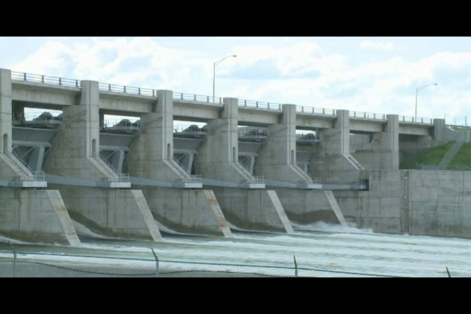 The floodgates are open at Gardiner Dam to help slow the flows of water coming in from Alberta.