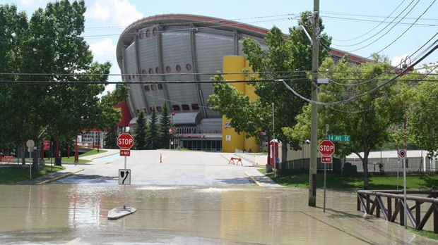 Saddledome flooding (photo courtesy: Calgary Flames)