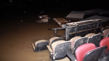 Flood damage in Saddledome