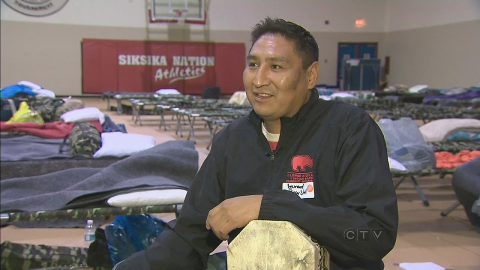 Leonard Bear Shirt of the Siksika Nation was forced to leave his home in South Camp with only his drum and some clothes.
