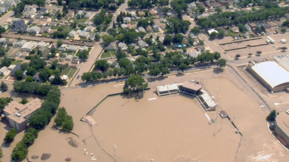 An aerial  view captures flooding in Medicine Hat, Alta., Monday, June 24, 2013.