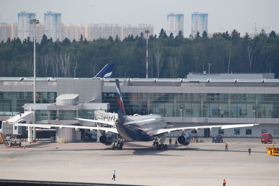 The Aeroflot Airbus A330 plane that was to carry National Security Agency leaker Edward Snowden on a flight to Havana, Cuba, parked at the gates at Sheremetyevo airport, Moscow, Monday, June 24, 2013. (AP / Sergei Ivanov)