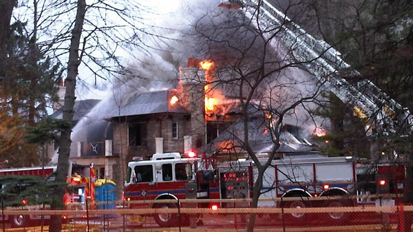 A fire broke out at a brand new multi-million dollar home in Oakville early on Wednesday, April 13, 2011.