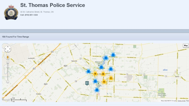 This image taken from the CrimePlot application shows a map of incidents reported to the St. Thomas Police Service.