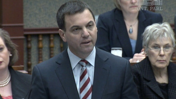 Ontario PC Leader Tim Hudak speaks during question period at Queen's Park on Wednesday, April 13, 2011.