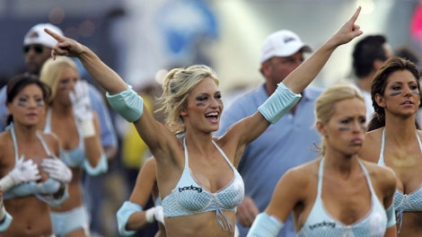 The Los Angeles Temptation takes the field during the Lingerie Bowl at the Los Angeles Memorial Coliseum Sunday, Feb. 5, 2006, in Los Angeles. (AP Photo/LA Daily News, Hans Gutknecht)
