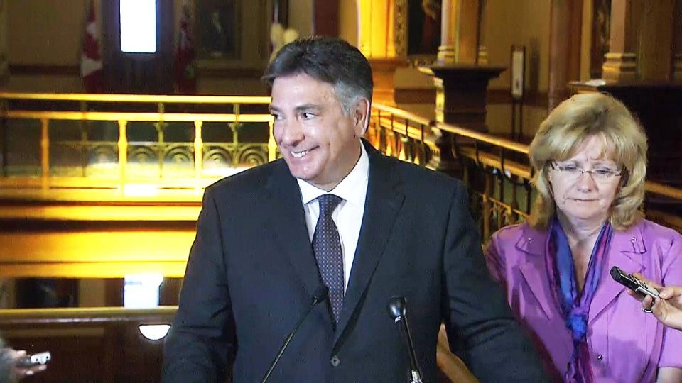 Finance Minister Charles Sousa speaks to the media on Monday, June 24, 2013.