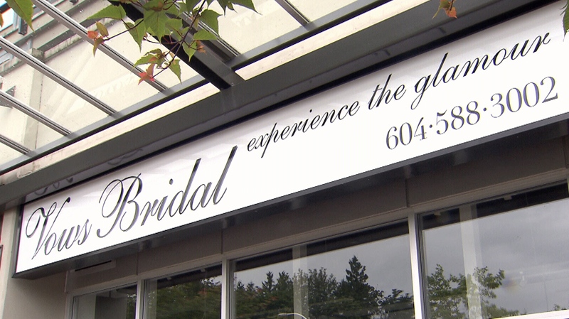 Vows Briday in Surrey's Guildford neighbourhood closed down while bride-to-be Amy Grant was waiting for her gown. June 24, 2013. (CTV)
