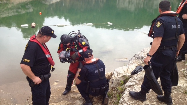 OPP  divers ready themselves for the search of the Elora Quarry on Tuesday, June 25, 2013. (Kevin Doerr / CTV Kitchener)