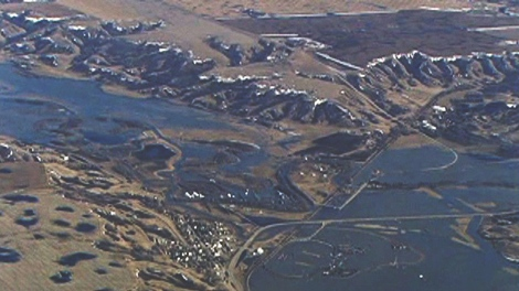 Flooding in the Qu'Appelle River Valley is seen in this aerial photo taken Wednesday.