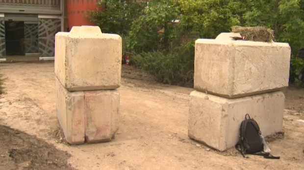 Concrete blocks at the entrance of the African Savannah building at the Calgary Zoo
