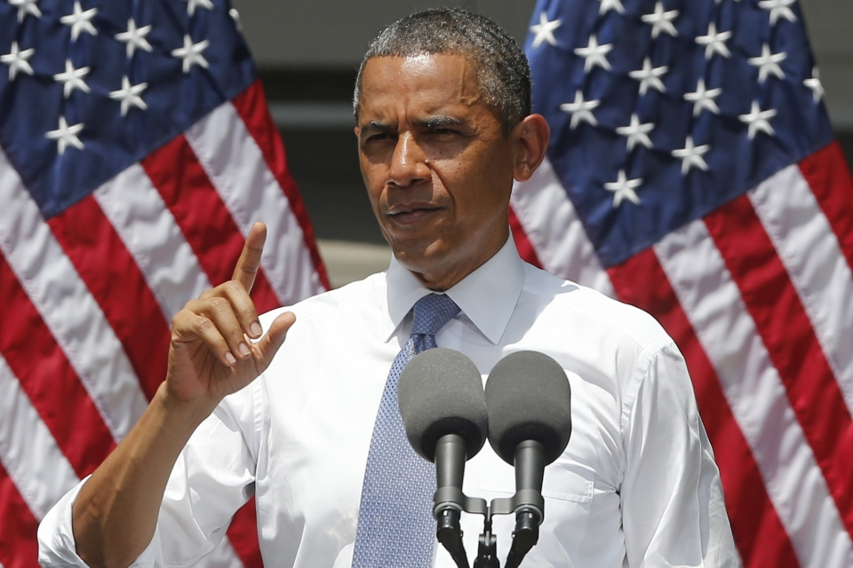 U.S. President Barack Obama speaks about climate change, Tuesday, June 25, 2013, at Georgetown University in Washington.(AP / Charles Dharapak)