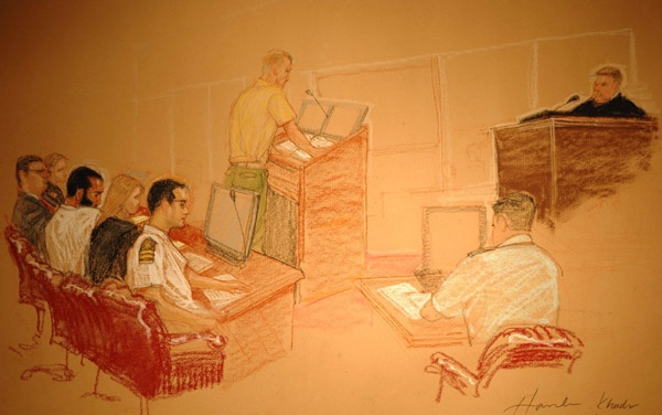 Omar Khadr is shown in a courtroom sketch in Guantanamo Bay, Cuba, Thursday, May 8, 2008.