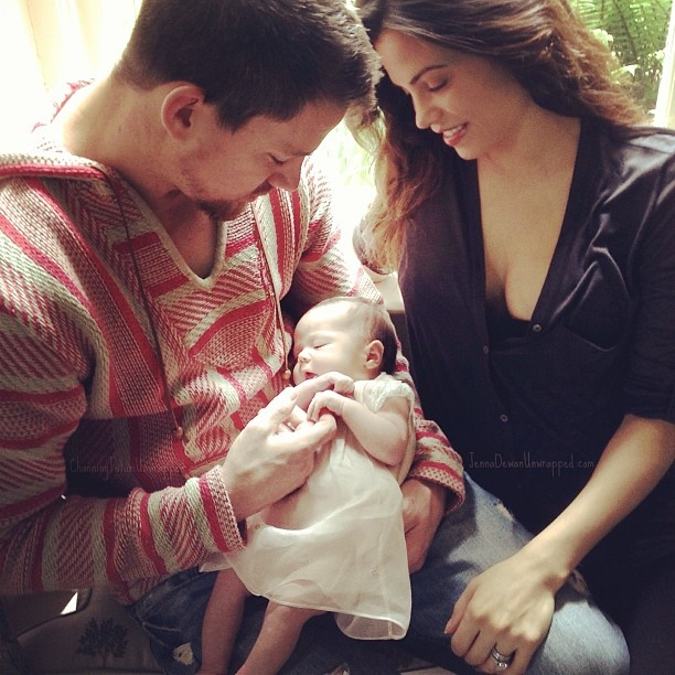 Actor Channing Tatum is shown with his wife, Jenna Dewan-Tatum, and daughter, Everly. Tatum posted this photo to his official Facebook page is a bid to stop paparazzi from fighting to get the first shot of his new child. (Facebook)