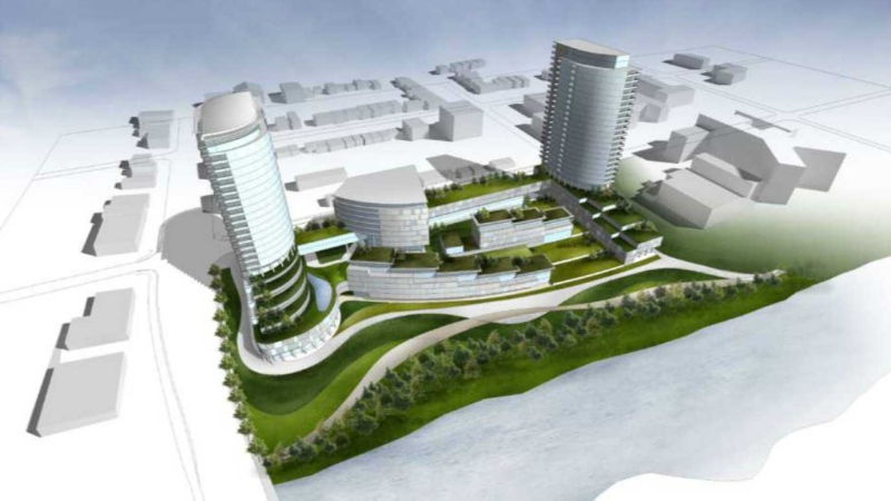 An artist's rendering shows a view of the planned SoHo Wellington Centre project by Fincore Canada from the Thames River.