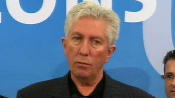 Bloc Quebecois Leader Gilles Duceppe answers a question during a news conference in Gatineau, Que., Thursday, April 14, 2011.