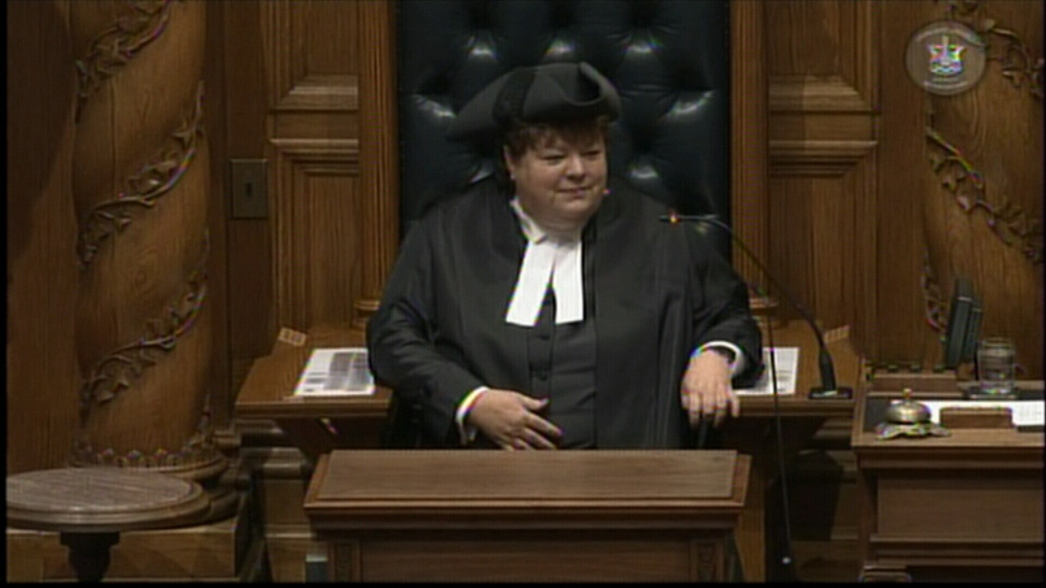 Former Speaker Linda Reid, now a Liberal MLA, is seen in the Speaker's chair in this file photo.