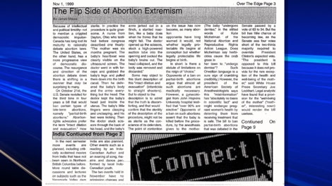 A 1999 article on abortion written by James Moore during his student days at UNBC. April 15, 2011. (CTV)