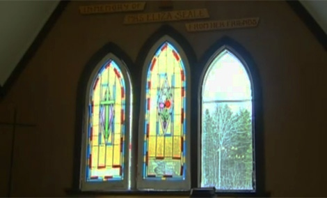 An image of the church after some panes of historic, colourful stained glass were stolen. (April 15, 2011)