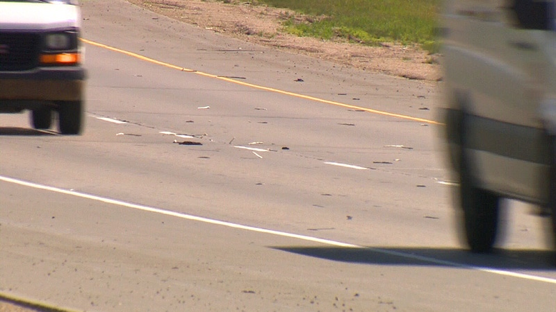 A day after heavy rains fell in the Edmonton-area, a southwest section of Anthony Henday Drive was littered with pieces of foam and road sealer, that popped out because of the excess water.