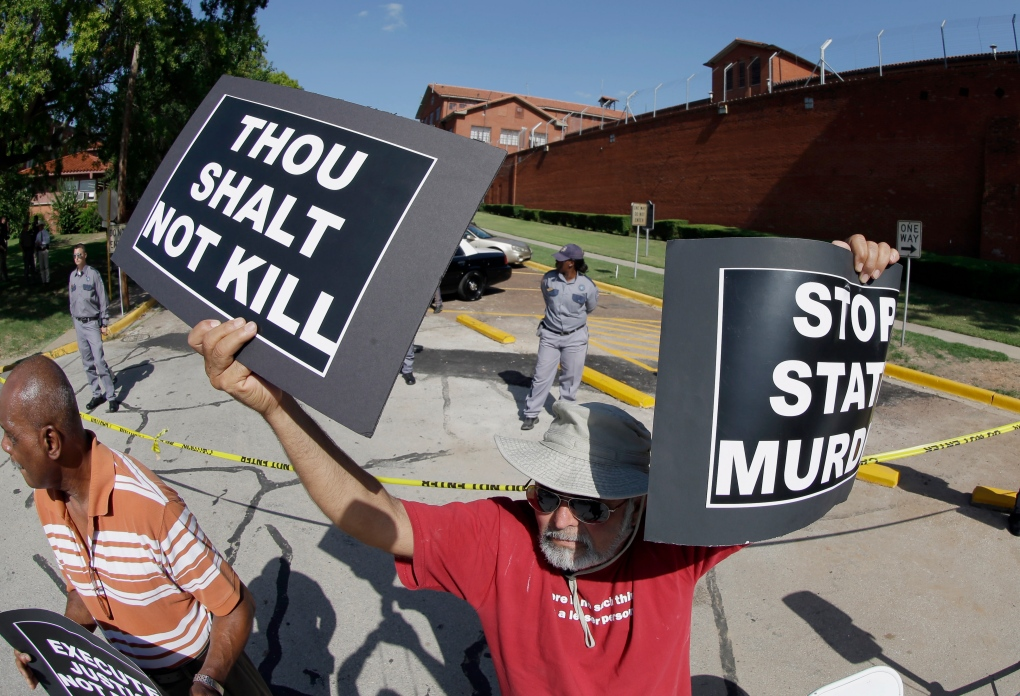 Protesting the execution of Kimberly McCarthy