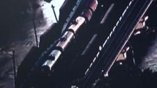 Aerial photo of failing bridge