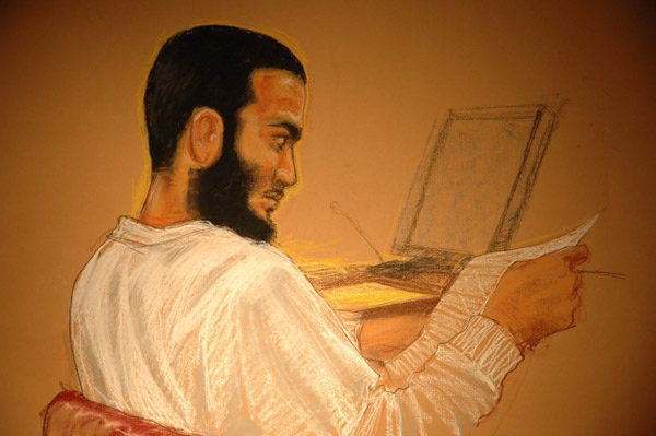 Omar Khadr is shown in a courtroom sketch in Guantanamo Bay, Cuba on Thursday, May 8, 2008.