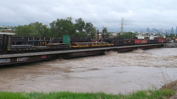 Viewer Ben sent in this image of the Bonnybrook Bridge during the height of flooding last week. A section of the bridge has now failed and may tip five cars filled with fuel into the Bow River.