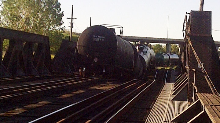 A derailed CP train is seen on the Bonnybrook Bridge in Calgary on June 27, 2013. (Transportation Safety Board)