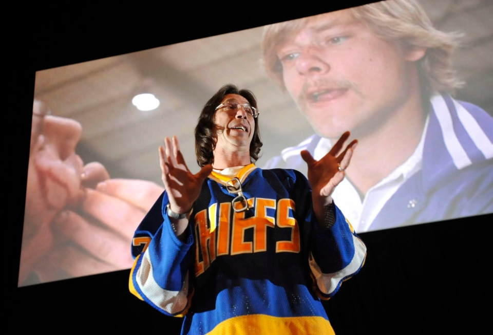 "Steve Carlson, who portrayed Steve Hanson in the cult classic ""Slap Shot,"" talks about his experiences while making the film in this 2011 file photo. (Tribune-Democrat/John Rucosky)"