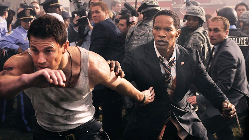 Jamie Foxx and Channing Tatum, left, in a scene from Sony Pictures Canada's 'White House Down'