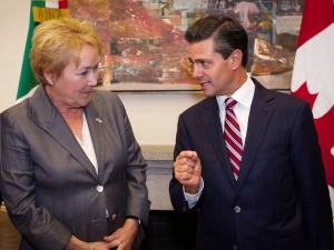 Quebec Premier Pauline Marois meets with Mexican President Enrique Pena Nieto in Mexico City, Thuesday, June 27, 2013. (Patrick Lachance / THE CANADIAN PRESS)