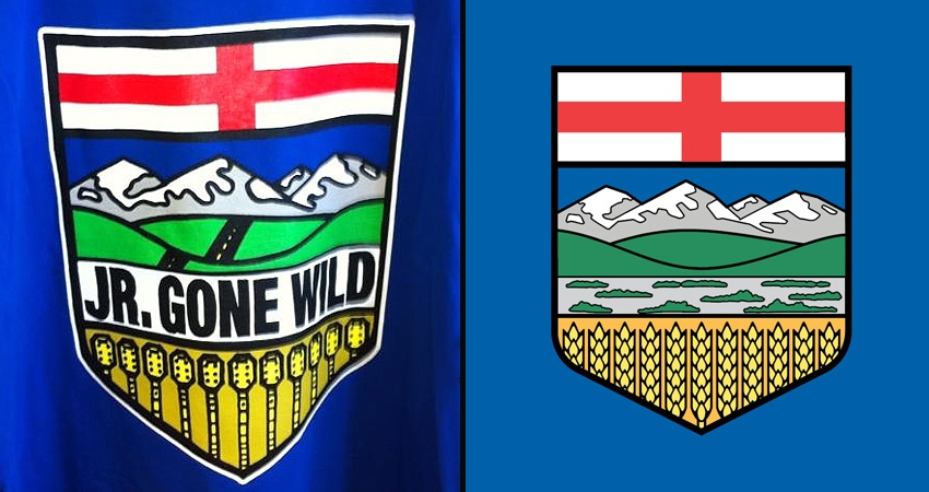 Edmonton-based band Junior Gone Wild has been using an altered version of the Alberta crest (L), compared here to the actual provincial crest.