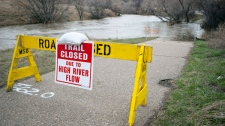 The Seven Persons Creek swells over its banks in Medicine Hat, Alta., Thursday, April 14, 2011.(Jeff McIntosh / THE CANADIAN PRESS)