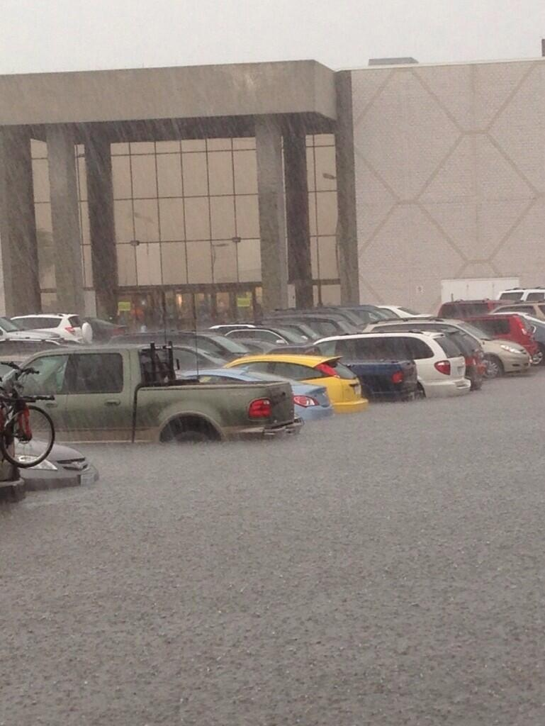 Flash flooding is seen at Fairview Park Mall in Kitchener, Ont., on Friday, June 28, 2013. (Courtesy Driveseat Kitchener)