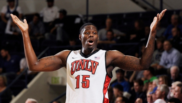 UNLV's Anthony Bennett reacts during the first half against Air Force during an NCAA college basketball game Wednesday, Feb. 13, 2013, at Air Force Academy, Colo. (AP /The Gazette, Jerilee Bennett)