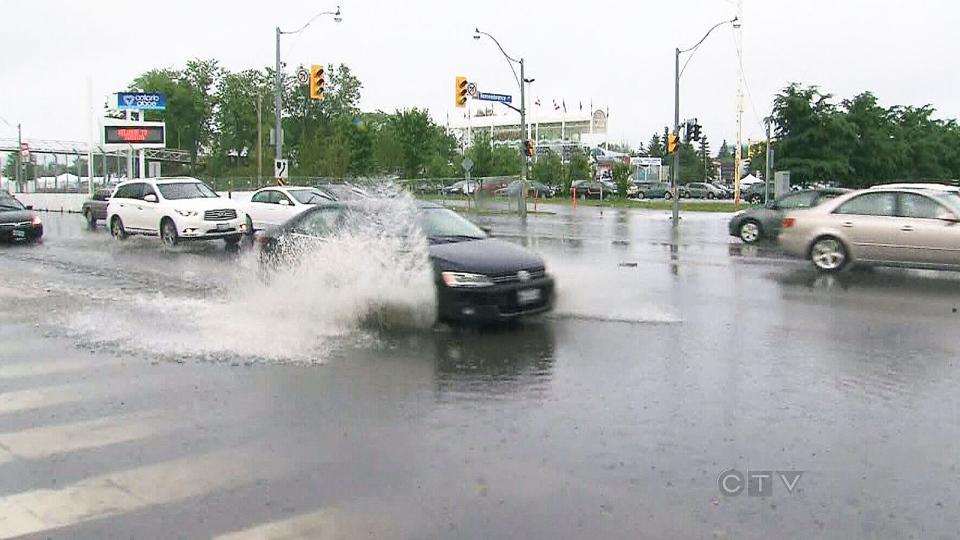 Rainy weather drenches Toronto streets