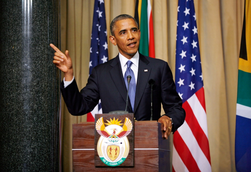 U.S. President Barack Obama addresses a press conference following their meeting at Union Building in Pretoria, South Africa, Saturday June 29, 2013. (AP / Jerome Delay)