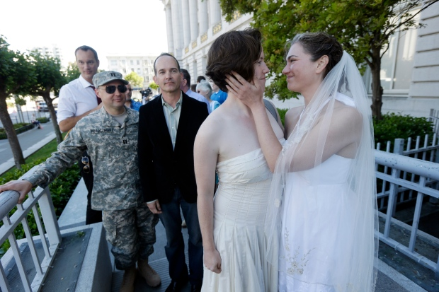 Gay couples line up to wed in California