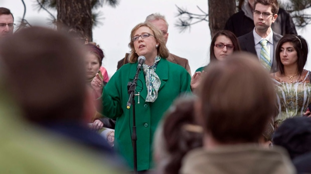 Green Party Leader Elizabeth May addresses supporters at a campaign rally in Halifax on Saturday, April 9, 2011. (Andrew Vaughan / THE CANADIAN PRESS)