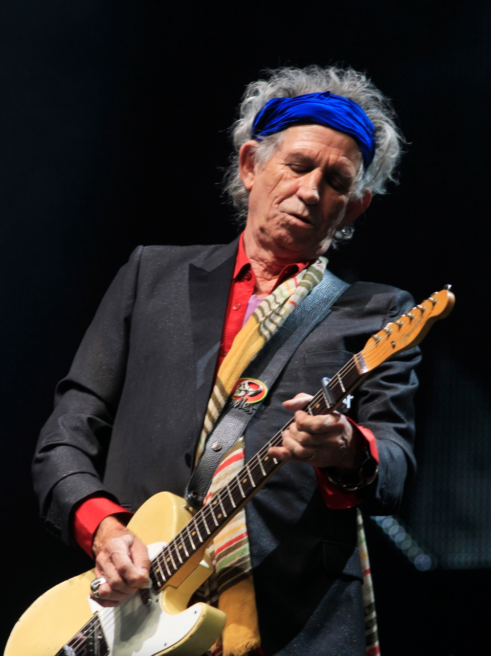 Keith Richards of The Rolling Stones performs at Glastonbury, England on Saturday, June 29, 2013. (Jim Ross / Invision)