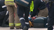A man in his 20s was transported to St. Michael's Hospital in downtown Toronto after being shot in the head and shoulder on April 17, 2011.